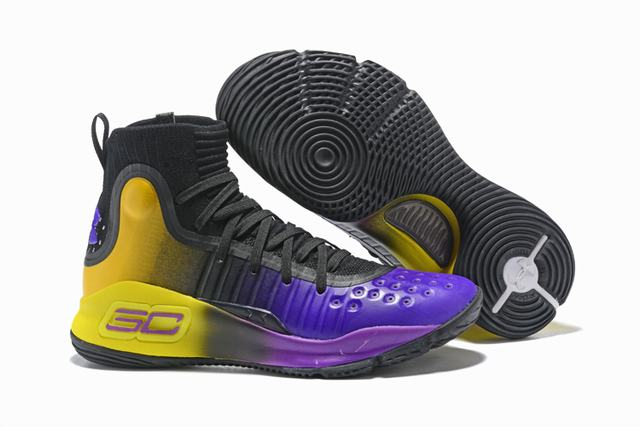 Curry 4 Shoes High Black Purple Yellow