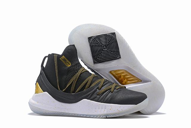 Curry 5 Shoes High Black Gold White