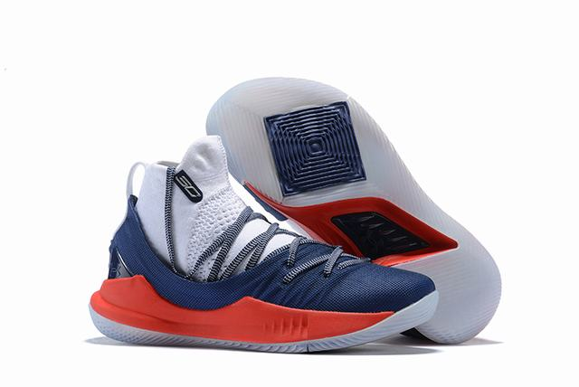 Curry 5 Shoes High White Blue Red